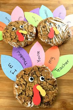There's no better way to show how thankful you are for your favorite teachers than with a fun sweet treat. There's no better way to show how thankful you are for your favorite teachers than with a fun sweet treat. Thanksgiving Arts And Crafts, Thanksgiving Crafts For Kids, Thanksgiving Treats, Thanksgiving Activities, Thanksgiving Turkey, Holiday Treats, Thanksgiving Decorations, Harvest Crafts For Kids, Thanksgiving Teacher Gifts