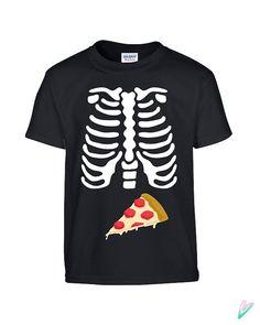 9e5ada85 Kids Skeleton Pizza Ribcage Halloween Toddler Tee T-Shirt T Shirt Tees  Youth Soft Xray Junk Food Funny Kids Costume School Joke Scary