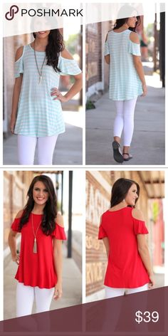 """NEW! Stripe Cold Shoulder Tunic Listing is for the Mint Striped Cold Shoulder Tunic. Bust measures: S - 18"""", M - 19"""", L - 20"""". Length measures: S - 30"""", M - 31"""", L - 32"""". See separate listing in my closet to purchase the Red Cold Shoulder Tunic. Bundle items to save! No Returns! Infinity Raine Tops Tunics"""