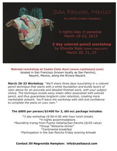 Fabulous Artist Workshop to be held in Tranquil San Pancho, Nayarit, Mexico, located on the Riviera Nayarit.