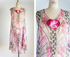1920s print silk chiffon dress
