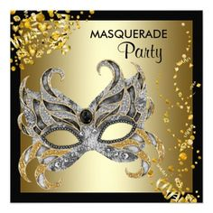 Elegant black and gold masquerade party invitation. This beautiful black and gold masquerade party invitation is easily customized for your . Sweet 16 Masquerade, Masquerade Prom, Halloween Masquerade, Masquerade Masks, Halloween Party, Halloween Ideas, Xmas Party, Halloween Masks, Masquerade Party Invitations