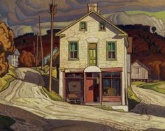 "This was a reproduction I did for a painting class. This is based on ""Old store at Salem"" by A J Casson, from the Group of Seven. A J Casson Reproduction Tom Thomson, Emily Carr, Group Of Seven Artists, Group Of Seven Paintings, Canadian Painters, Canadian Artists, Mary Cassatt, Henri Matisse, Vincent Van Gogh"