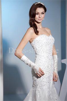 Fashion Sweetheart Court Train Satin Wedding Dress  #wedding #weddingdress #wedding2015
