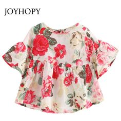 e98078f338934 3.77 48% de réduction|Belle fleur enfants fille chemise été en mousseline  de soie enfants filles Blouses chemises princesse bébé hauts vêtements  vêtements ...