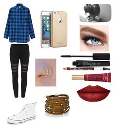 """""""My school outfit today"""" by friends-forever-and-always ❤ liked on Polyvore featuring Converse, Uniqlo, Maybelline, Smashbox, Too Faced Cosmetics and Sif Jakobs Jewellery"""