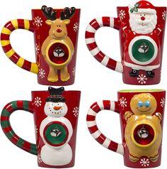 4 Set Christmas Ceramic Coffee Mugs 16 Oz Snowman Santa Reindeer Gingerbread Man #GiftBoutique