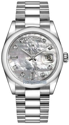Rolex Day-Date 36mm Platinum Domed Bezel 118206 White MOP Diamond President