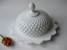 RESERVED ITEM Stunning and Elegant Vintage Fenton Milk Glass Hobnail Round Butter/Cheese Dish. $107.30, via Etsy.