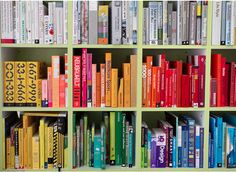 arrange your books by color - and create a fab rainbow effect.