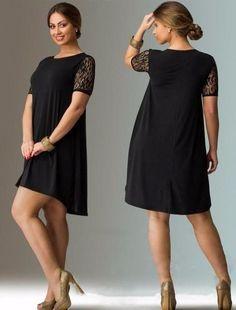 Women s Plus Size Elegant Lace Short Sleeve Hi-Lo Dress L-6XL 3 Colors c4320d6ef717
