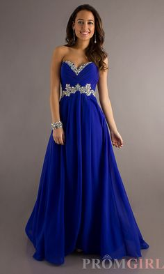 Full Length Strapless Electric Blue Gown