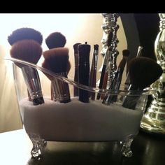 My new make-up brush holder...Epsom salts in a mini claw foot tub