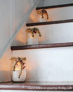 "Mason Jars filled with flour for ""snow"" and a votive tucked inside. Decorate with tinsel and berries and line them up on the stairs. christmas decorations stairways It's a Farmhouse Christmas! - Town & Country Living Mason Jars filled with Noel Christmas, Country Christmas, Christmas Projects, All Things Christmas, Winter Christmas, Christmas Candles, Christmas Porch, Christmas Staircase, Christmas Garden"