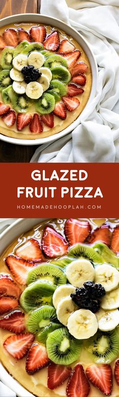"Glazed Fruit Pizza! Make fruit pizza your way with a sweet cream cheese ""sauce', fruits of your choice, and a glaze made out of your favorite fruit juice. 