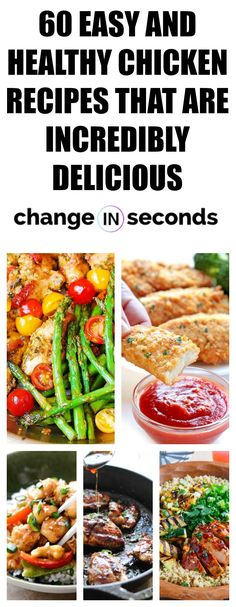 60 Easy And Healthy Chicken Recipes That Are Incredibly Delicious Access The Best List Of Chicken Recipes Healthy Crockpot Recipes, Easy Healthy Dinners, Quick Meals, New Recipes, Whole Food Recipes, Cooking Recipes, Clean Eating Meal Plan, Clean Eating Recipes, Healthy Eating