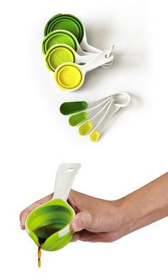 SleekStor Pinch+Pour Cups by Chef'n have a flexible silicone construction that's easy to manipulate—just pinch it for a clean pour, and collapse it for storage. The SleekStor Nesting Spoons are a scaled-down version of the same concept, with long, narrow scoops that can dig deep into spice jars #productdesign