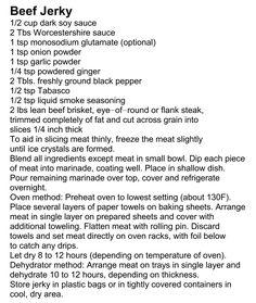 Beef Jerky - nice recipe with dehydrator instructions