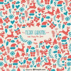 ピンクとブルーが可愛いクリスマスモチーフのベクターイラストパターン