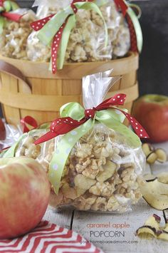 Caramel Apple Popcorn is yummy and easy to make in the microwave.  Makes a great teacher appreciation gift too.