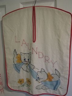 tinted embroidered vintage laundry bag