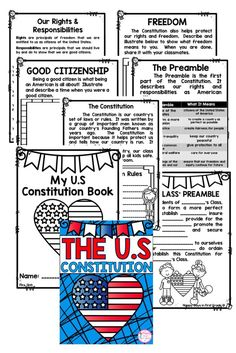 Insane image within kid friendly constitution printable