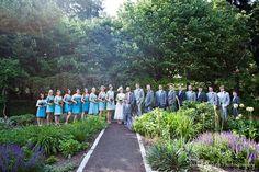 bridal party at arboretum