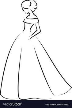 Easy Love Drawings, Art Drawings Sketches Simple, Beautiful Drawings, Cute Drawings, Wedding Dress Sketches, Dress Design Sketches, Fashion Design Drawings, Easy Person Drawing, Dress Drawing Easy