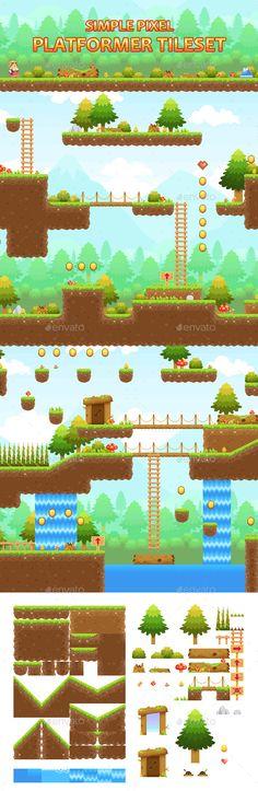 Simple Pixel Platformer Tileset - Tilesets Game Assets