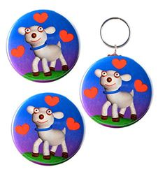 "Amazon.com: Funny I Love Lamb Sheep, Matching 2-Sided Keychain, Magnet and Pinback Button ,2.25"": Clothing"
