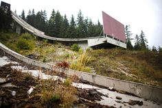Abandoned: The Olympic rings are seen on the disused ski jump from the Sarajevo 1984 Winter Olympics.    Super Creepy Pictures Of Forgotten Olympic Villages
