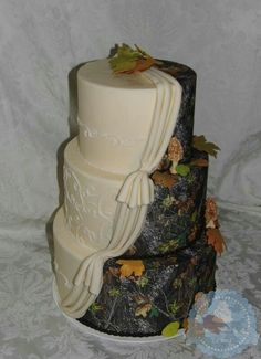 Orchids And Camo Wedding Cake