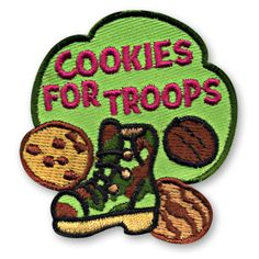 Cookies For Troops Fun Patch Brownie Girl Scouts, Girl Scout Cookies, Daisy Girl Scouts, Boy Scouts, Girl Scout Fun Patches, Girl Scout Juniors, Cool Patches, Fun Cookies, Troops