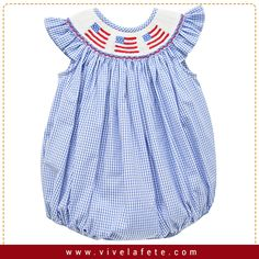 Order today this adorable 4TH OF JULY SMOCKED ANGEL WING BUBBLE available at vivelafete.com #Handsmocked #ChildrenWear #ViveLaFete #HandMade