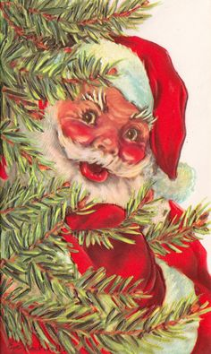 Shy Santa - Vintage Christmas Card