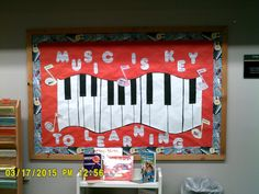 Our bulletin boards cover a variety of subject areas. This is an example for music.
