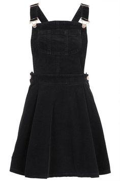 black corduroy overall dress.