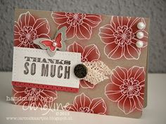 handmade thank you card ...luv the warm homemade feel of kraft base cards ... large flower stamped all over, embossed in white and sponged color on top ... Stampin' Up!