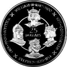 "Cayman Islands 25 Dollars Silver coin 1980 Norman Kings of England: King William I The Conqueror, King William II of England, King Henry I and King Stephen ""Stephen of Blois"". Kings of England Coin Collection"