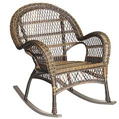 Our all-weather rocker has been woven by hand of synthetic rattan over a durable, rust-resistant frame. So it's rugged and easy to clean. But also: Incredibly versatile, with a vintage silhouette, open-weave fan back, curved arms and fully wrapped legs. Coordinates perfectly with bright sunshine and fresh breezes.
