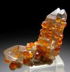 Spessartine on quartz