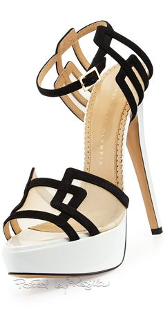 Charlotte Olympia ~ Black + White Sandal Stiletto 2015