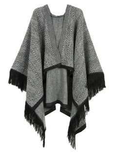 Buy Gray Geo Knitted Tassel Hem Hooded Cape from abaday.com, FREE shipping Worldwide - Fashion Clothing, Latest Street Fashion At Abaday.com