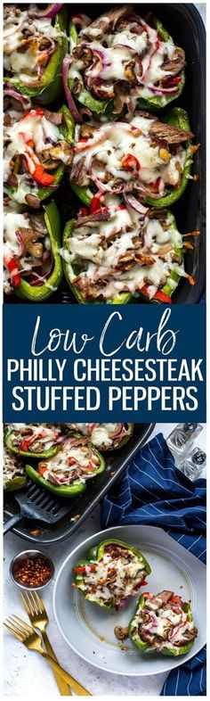 Low Carb Philly Cheesesteak Stuffed Peppers!!! - Low Recipe