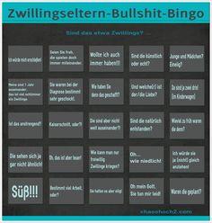 Zwillings-Eltern-Bullshit-Bingo: SIND DAS ZWILLINGE? Bingo, Bullshit, Twins, Humor, Funny, Pregnancy, Twin Sayings, Funny Stories, Family Life