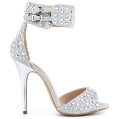 Just dance in the Jovial! This eye catcher by Chinese Laundry features a silver shimmery upper with bead adornment and thick ankle strap. A 4 1/2 inch low stiletto heel finishes off this