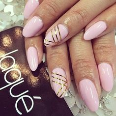 pale pink and gold nails