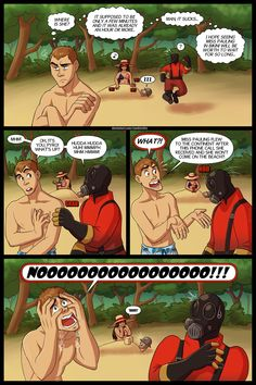 Once upon a time on the beach part 2 by Sandvichka on DeviantArt Dc Anime, Anime Comics, Video Games Funny, Funny Games, Tf2 Comics, Tf2 Funny, Team Fortress 2 Medic, Tf2 Memes, Team Fortess 2