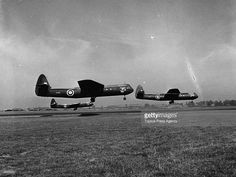 Three British Airspeed Horsa gliders taking to the air towed by Whitleys. These gliders were used as troop carriers in the Allied invasion of Europe and could carry 15 fully armed troops and equipment.