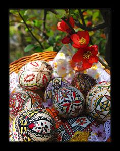 A lovely spring tableau of Romanian Easter eggs and flowers.